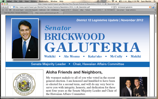 Senator Galuteria's monthly newsletter for the month of november.